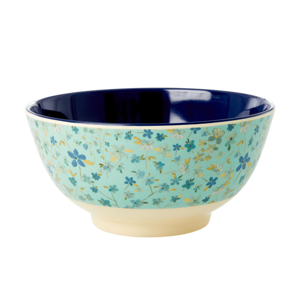 Melamine Bowl with Blue Floral Print - Two Tone - Medium