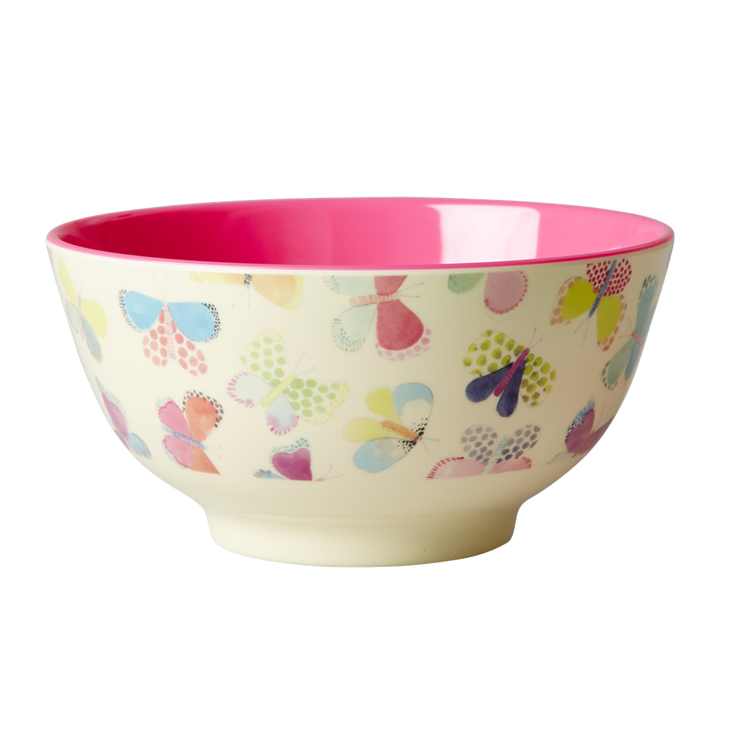 Melamine Bowl with Butterfly Print <br> Two Tone <br> Medium