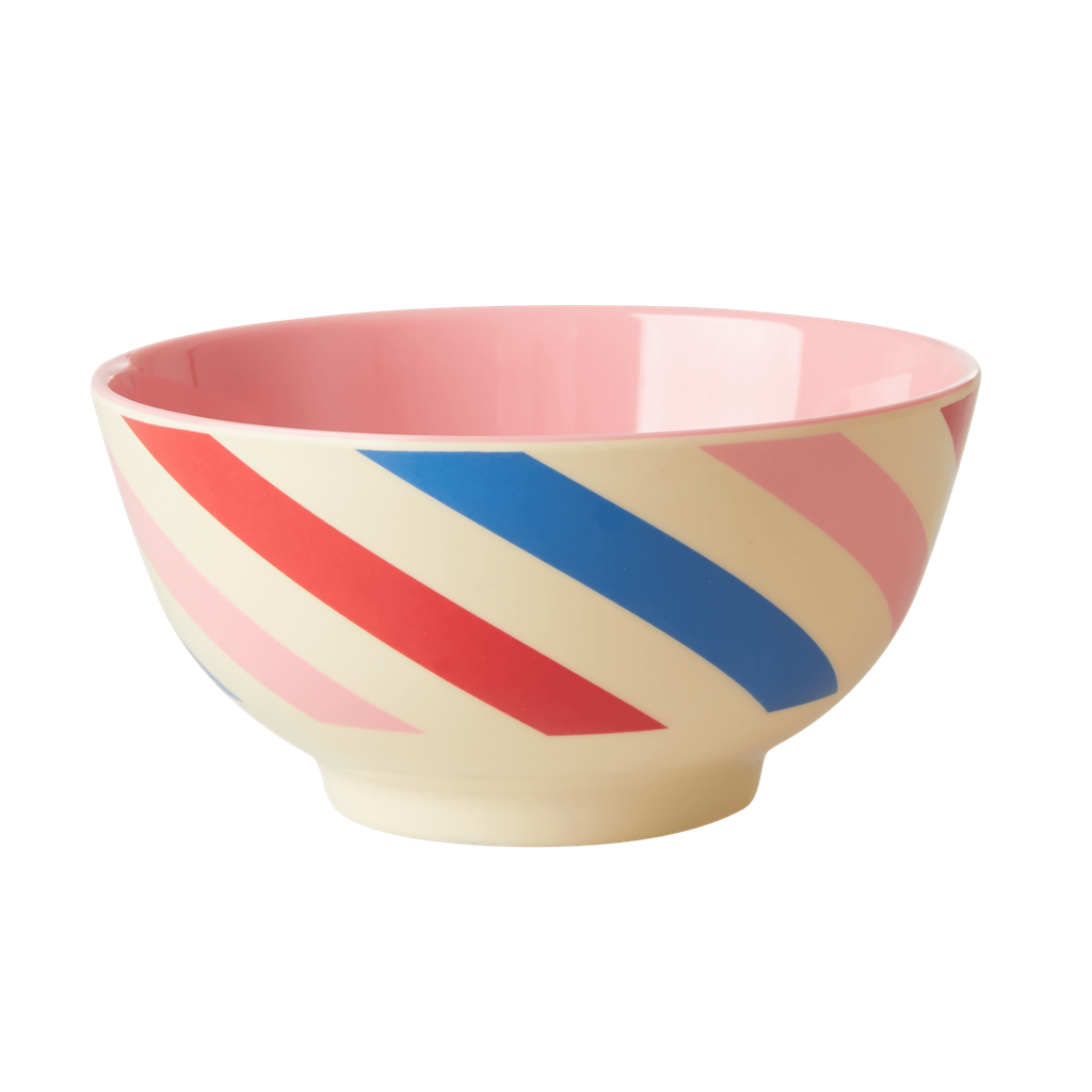 Melamine Bowl with Candy Stripes Print - Two Tone - Medium - Rice By Rice