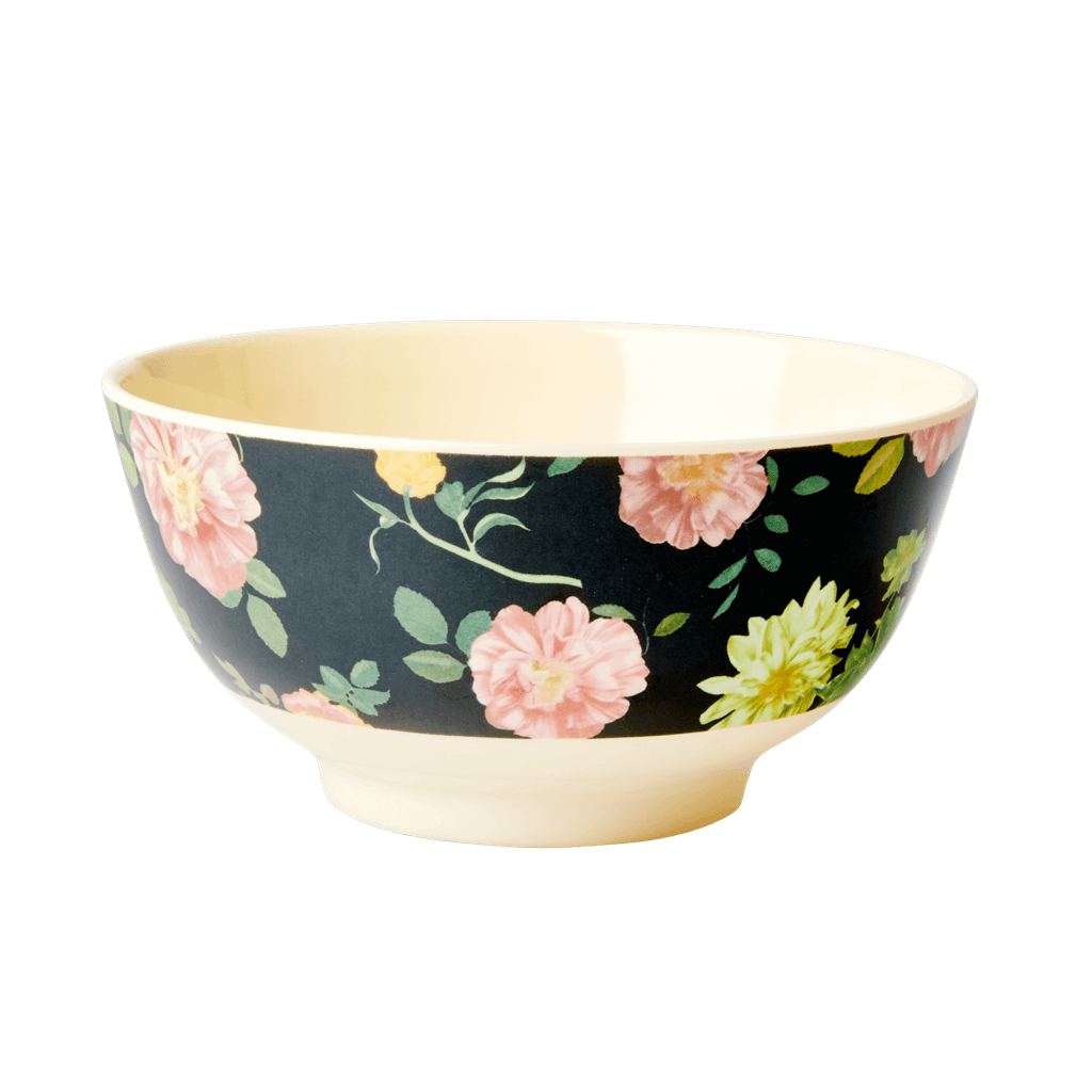 Melamine Bowl - Dark Rose Print - Medium