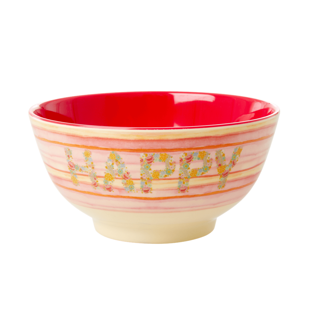 Melamine Bowl with Happy Pink Print - Two Tone - Medium - Rice By Rice