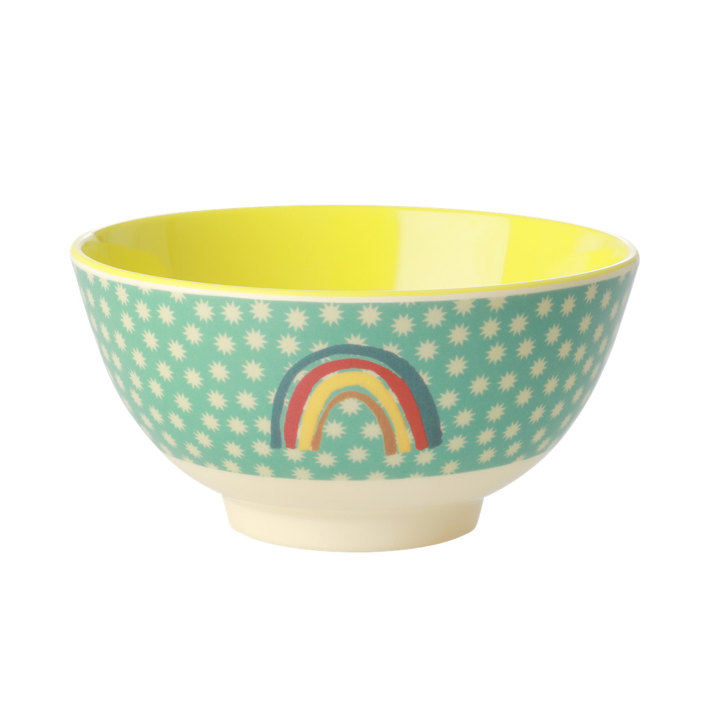Melamine Kids Bowl with Rainbow and Stars Print - Two Tone - Medium