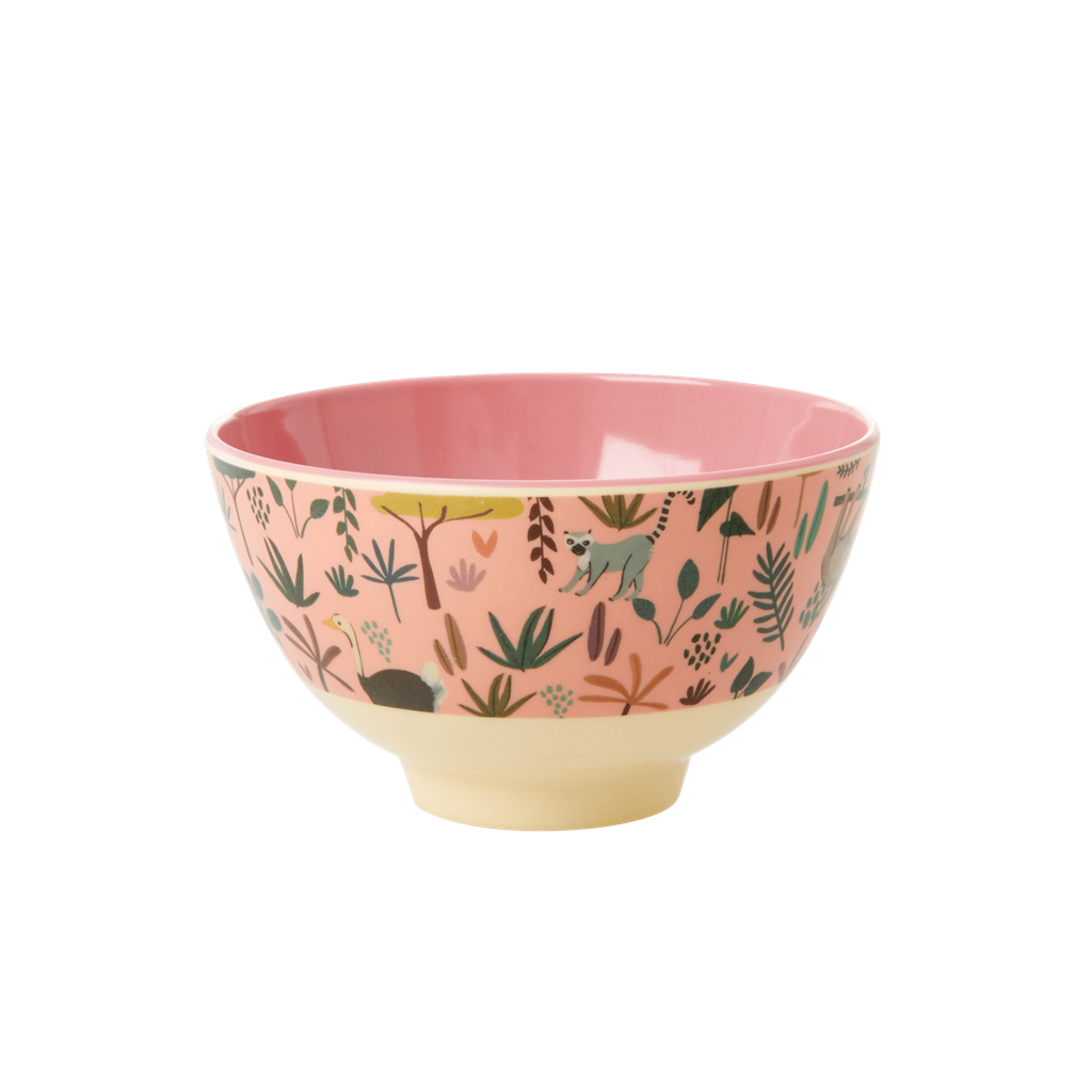 Melamine bowl with All Over Jungle Animals Print - Two Tone - Coral - Small