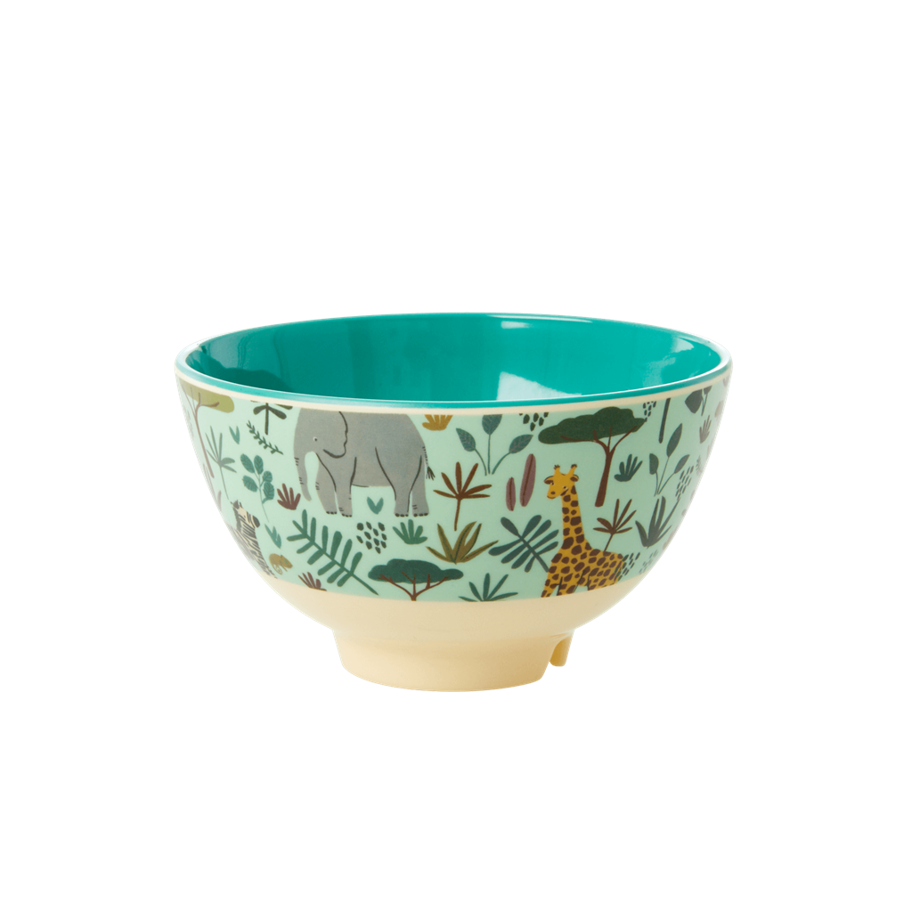 Melamine bowl with All Over Jungle Animals Print - Two Tone - Green - Small