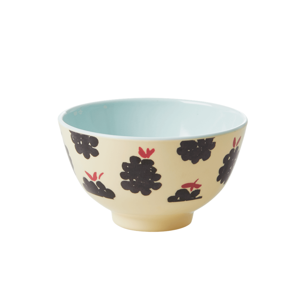 Melamine Bowl with Blackberry Print - Two Tone - Small - Rice By Rice