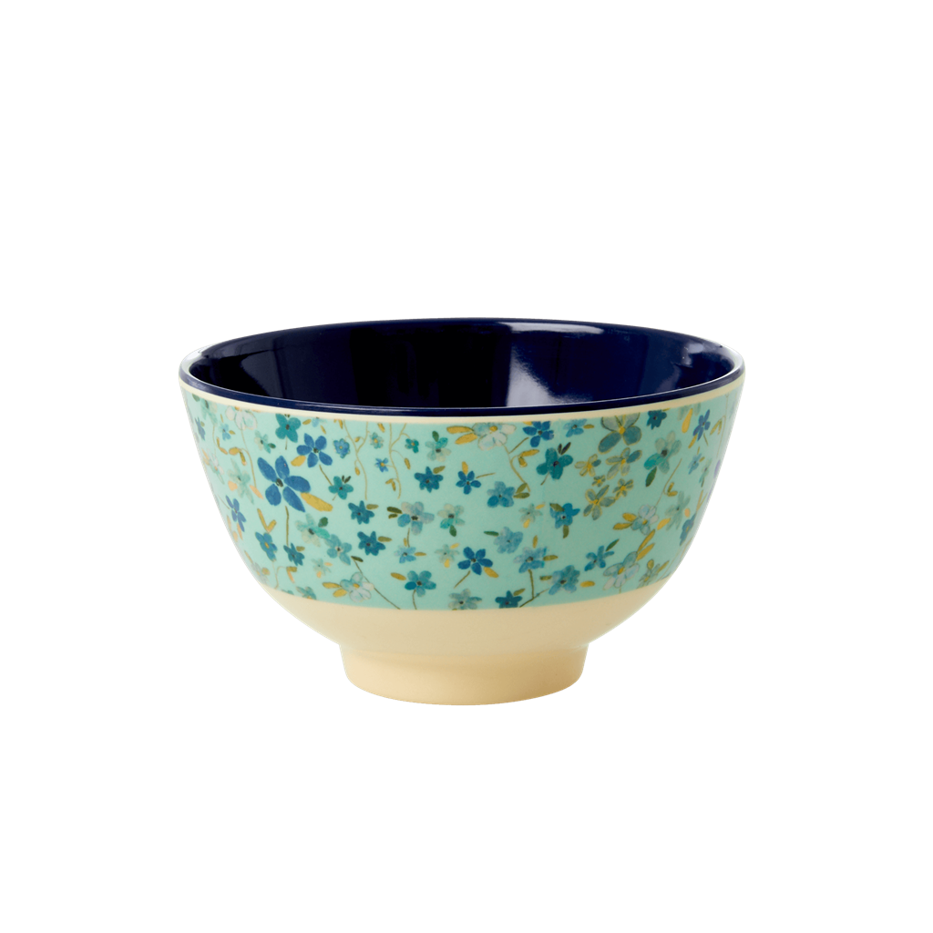 Melamine bowl with Blue Floral Print - Two Tone - Small