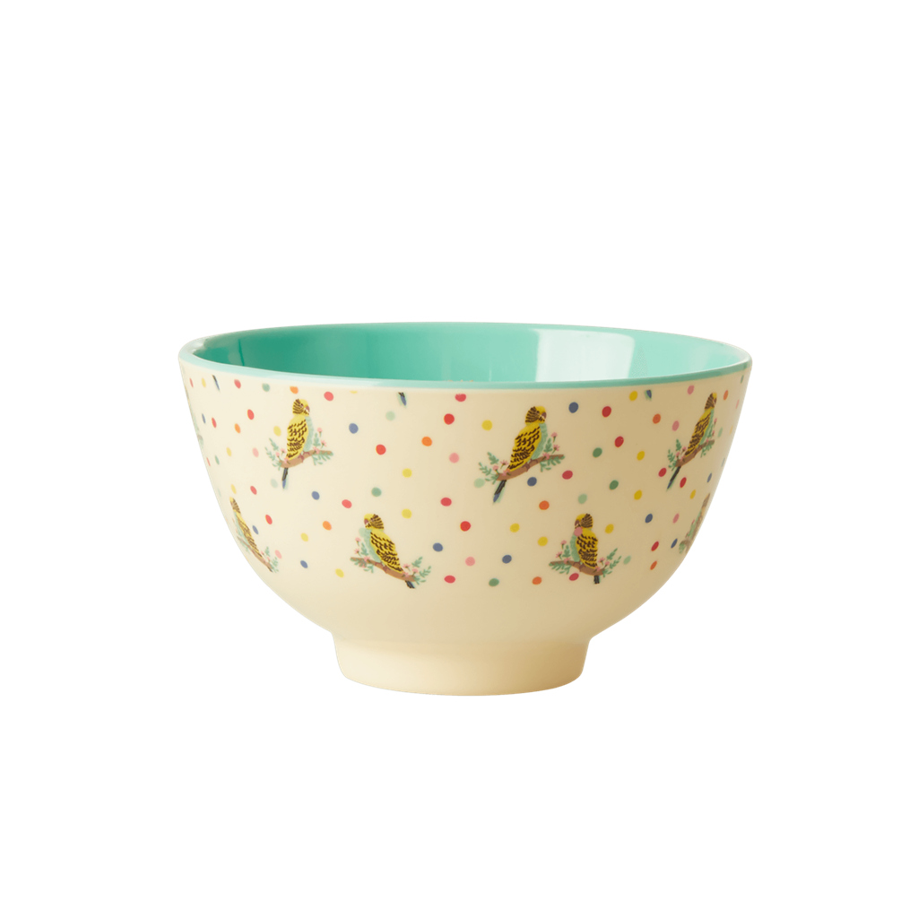 Melamine Bowl with Budgie Print - Two Tone - Small - Rice By Rice