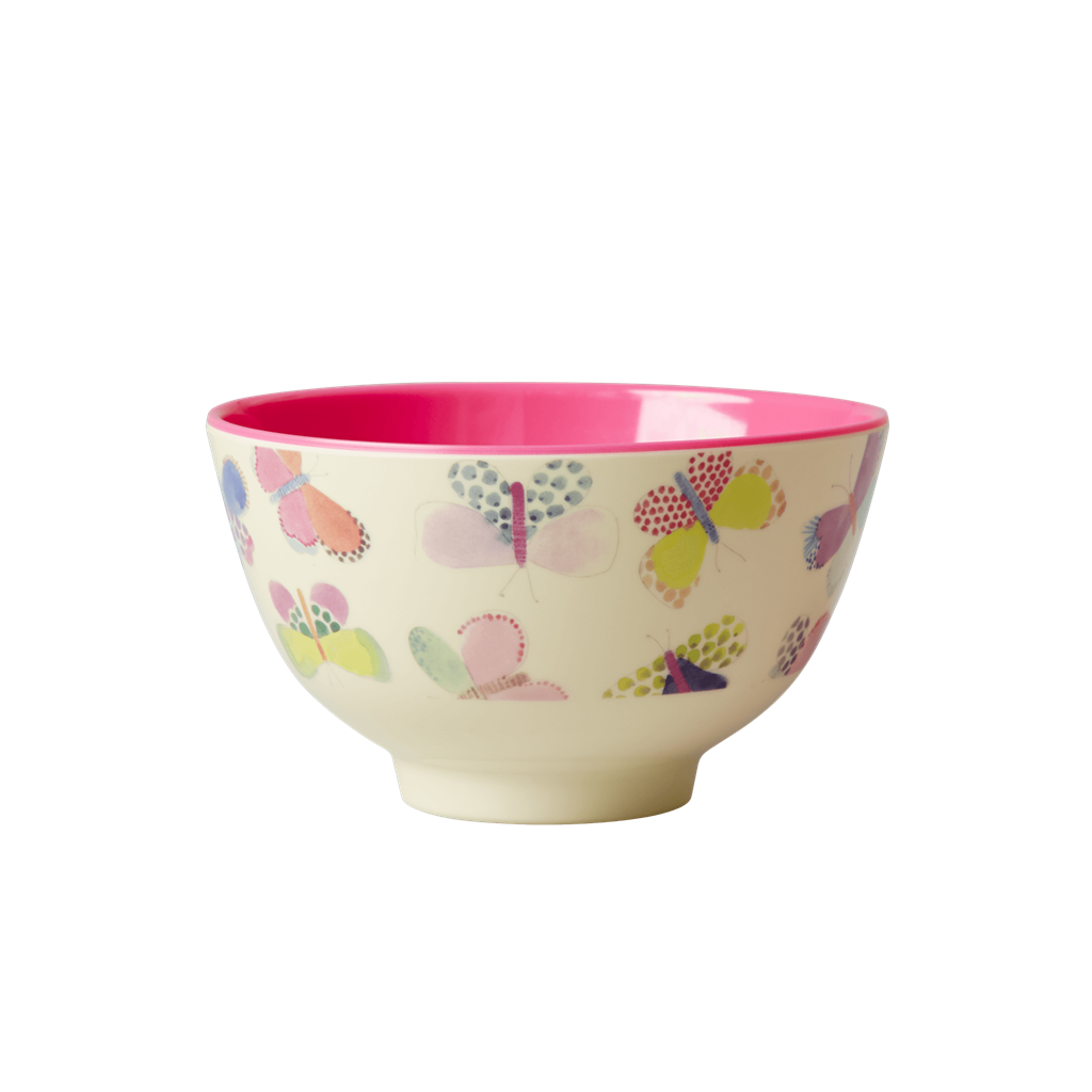 Melamine Bowl with Butterfly Print <br> Two Tone <br> Small - Rice By Rice