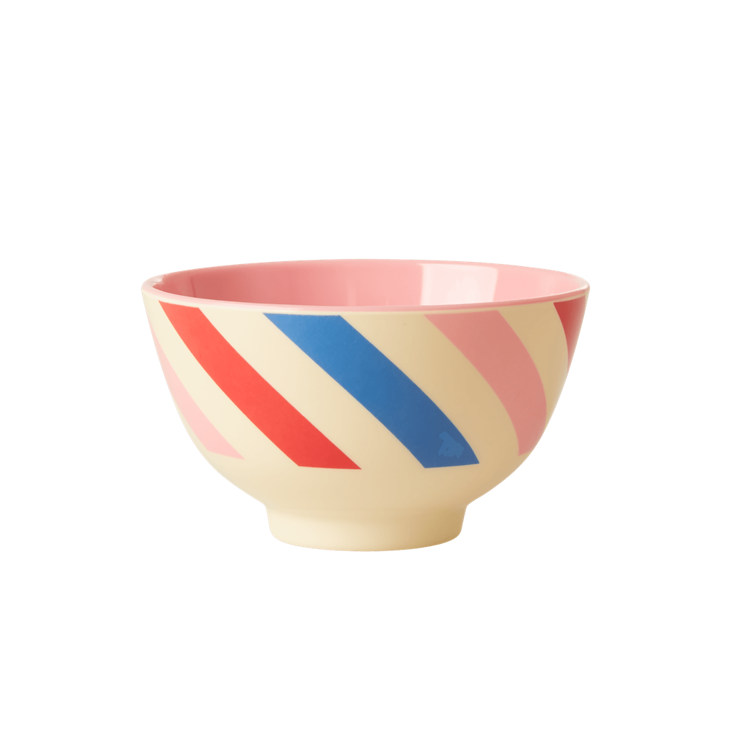 Melamine Bowl with Candy Stripes Print - Two Tone - Small - Rice By Rice