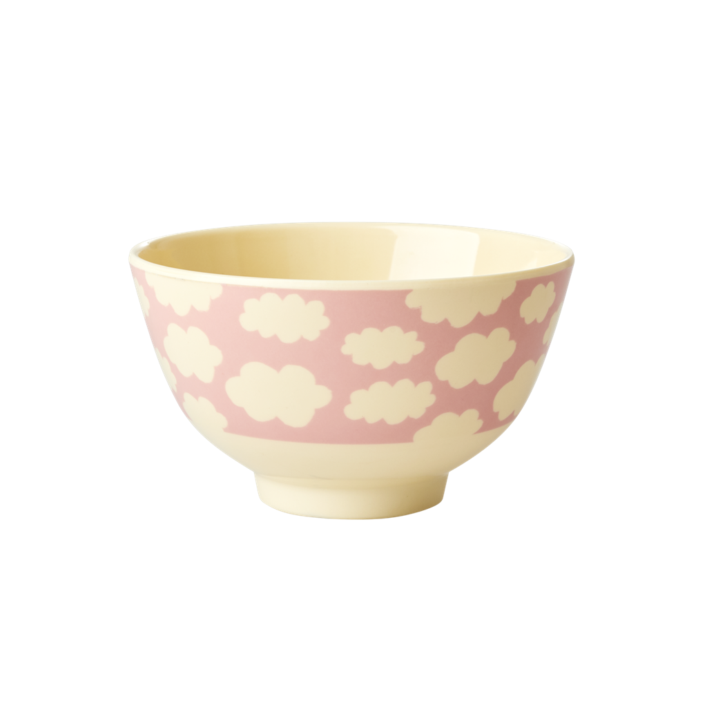 Melamine Bowl with Cloud Print in Pink - Small - Rice By Rice