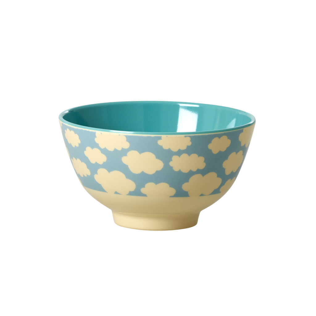 Melamine Bowl with Cloud Print <br> Two  Tone <br> Small