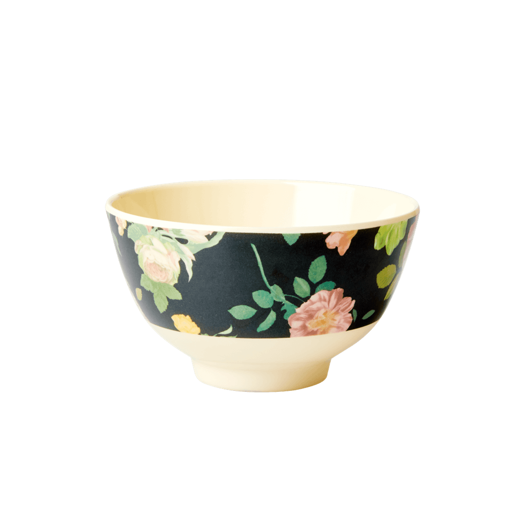 Melamine Bowl with Dark Rose Print -  Small
