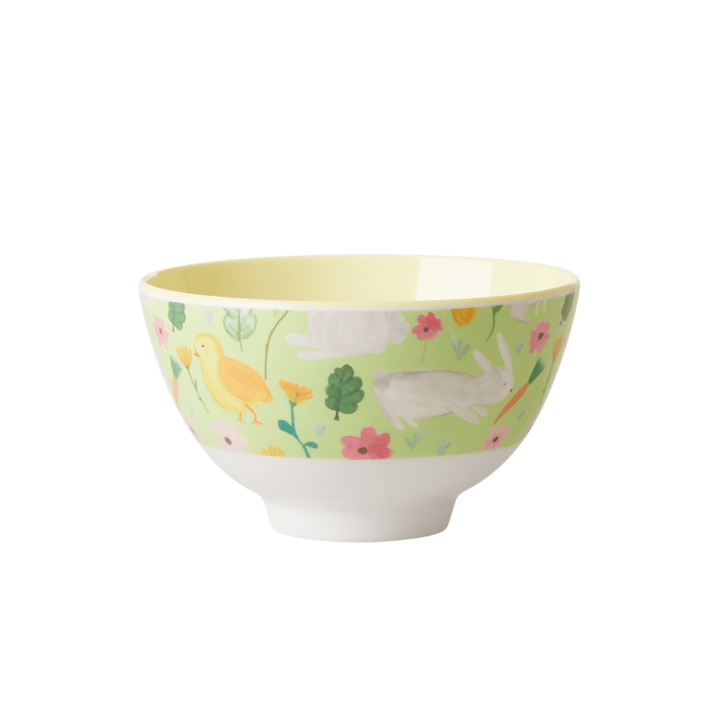 Melamine Bowl with Green Easter Print - Two Tone - Small - Rice By Rice