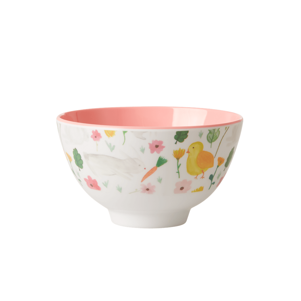 Melamine Bowl with White Bunny Print - Two Tone - Small - Rice By Rice