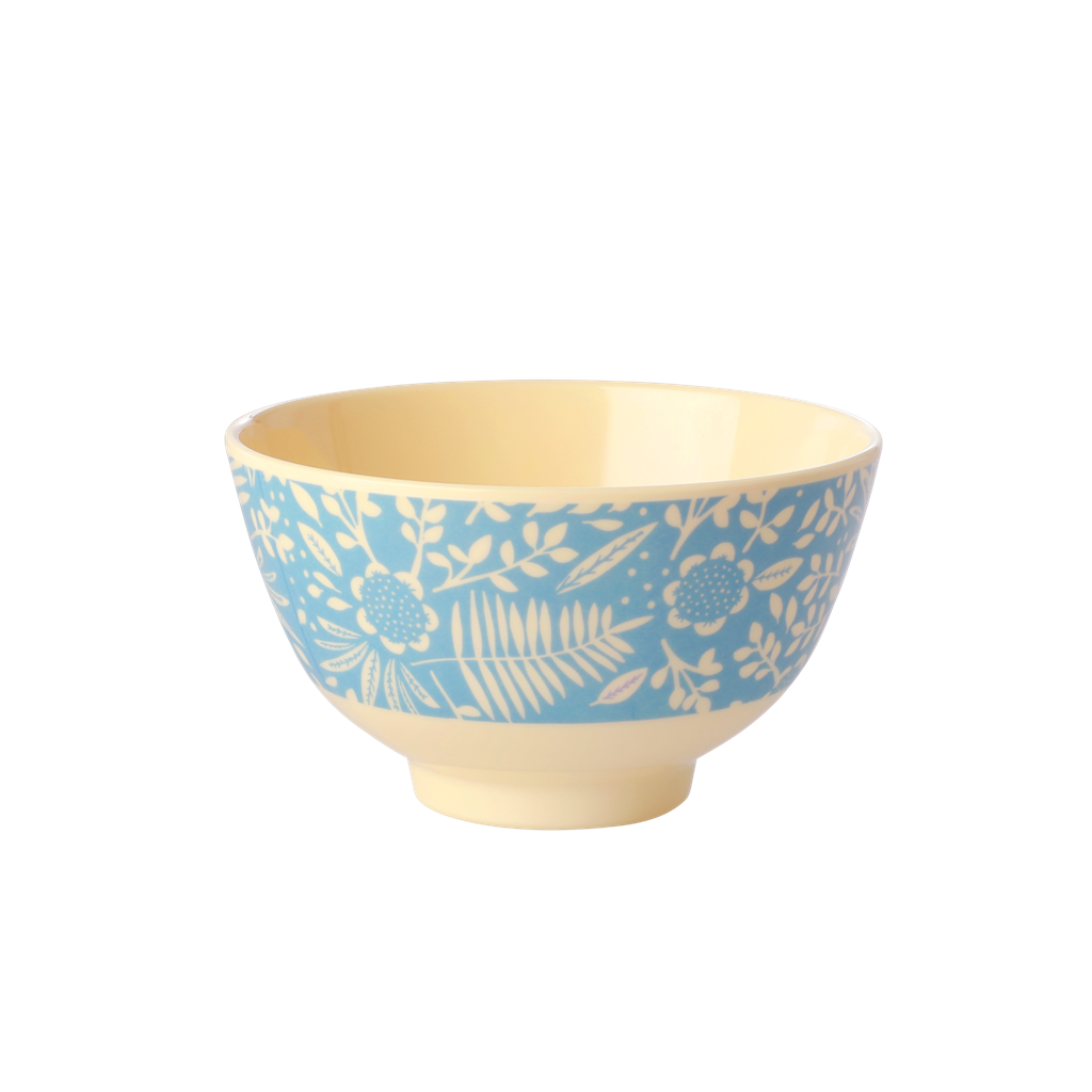 Melamine Bowl with Blue Fern & Flower Print - Small
