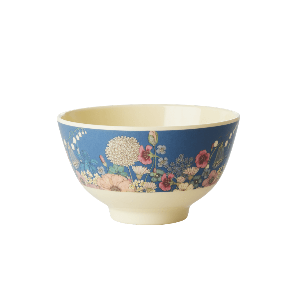 Melamine Bowl with Flower Collage Print - Small