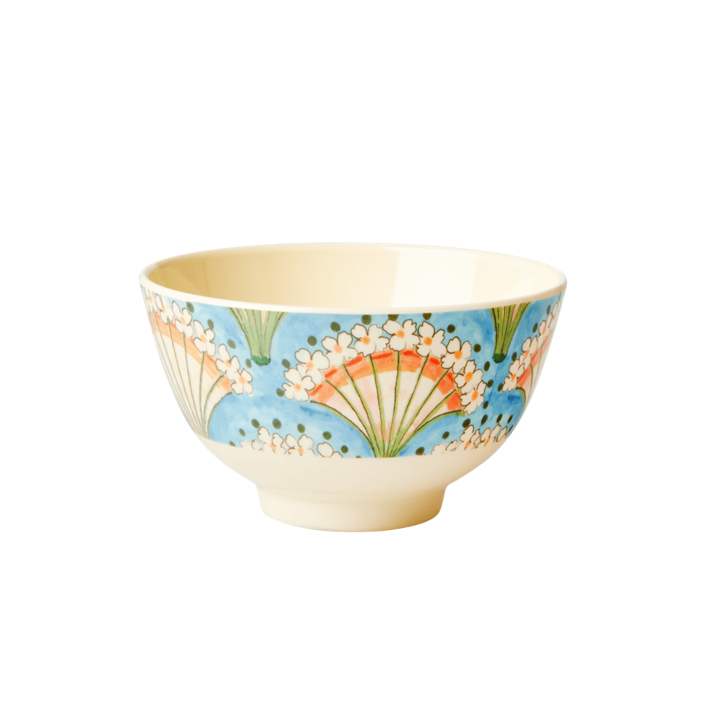 Melamine Bowl with Flower Fan Print - Small - Rice By Rice