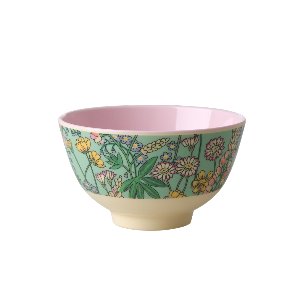 Melamine Bowl with Lupin Print - Two Tone - Small - Rice By Rice