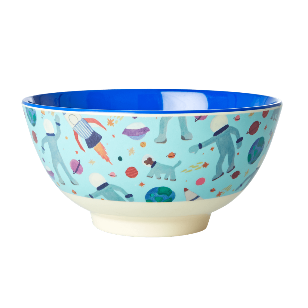 Melamine Bowl with Space Print - Two Tone  - Medium - Rice By Rice