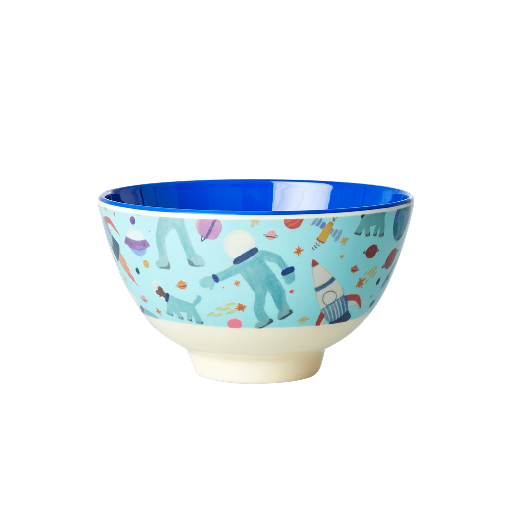 Melamine Bowl with Space Print - Two Tone  - Small - Rice By Rice