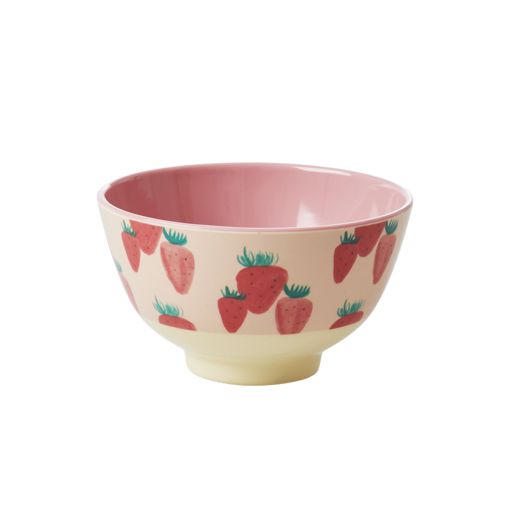 Melamine Bowl with Strawberry Print - Two Tone - Small - Rice By Rice