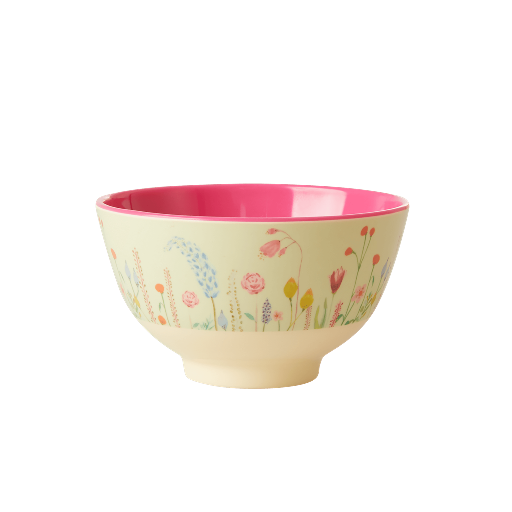 Melamine Bowl with Summer Flowers in Sage Green - Small