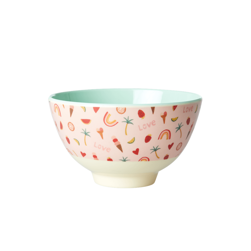 Melamine Bowl with You Go Girl Print - Two Tone - Small - Rice By Rice