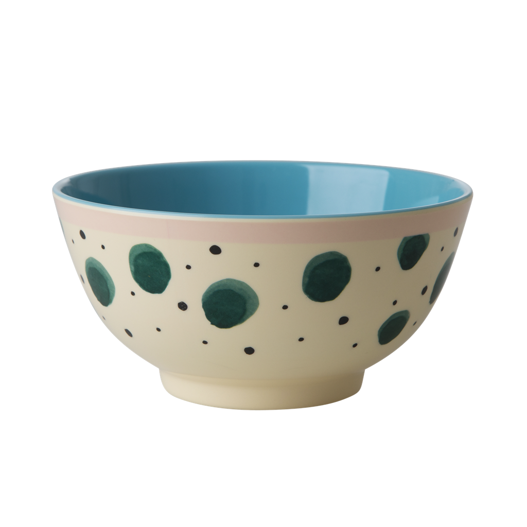 Melamine Bowl with Watercolor Splash Print <br> Two Tone <br> Medium