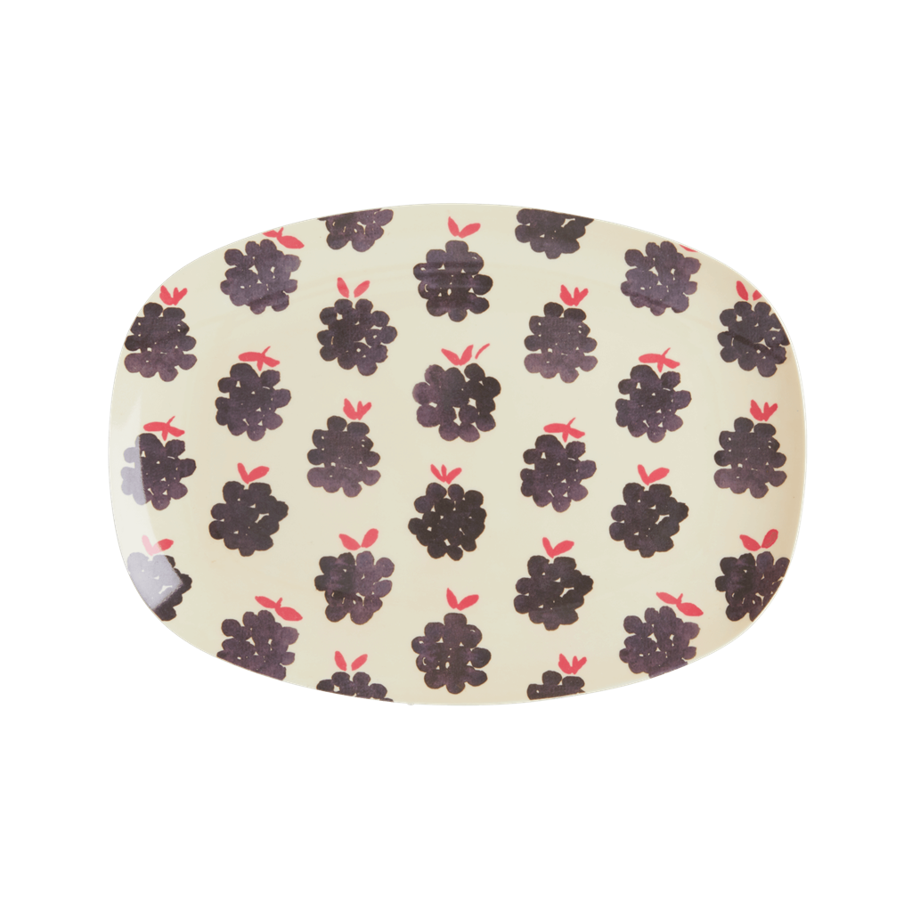 Melamine Rectangular Plate with Blackberry Print - Small