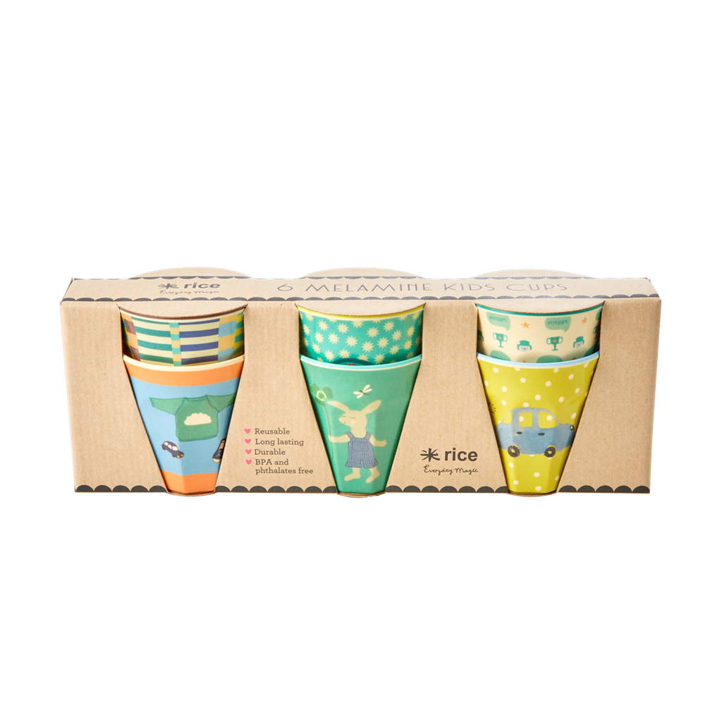 Melamine Cups with Assorted Green Bunny Prints - Small - 6 pcs. in Gift Box - Rice By Rice