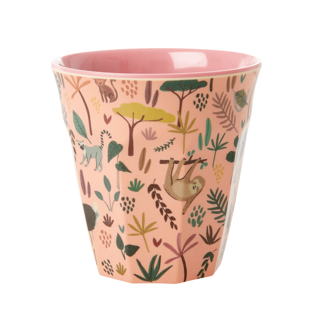 Melamine Cup - Medium in Pink All Over Jungle Animals Print - Rice By Rice