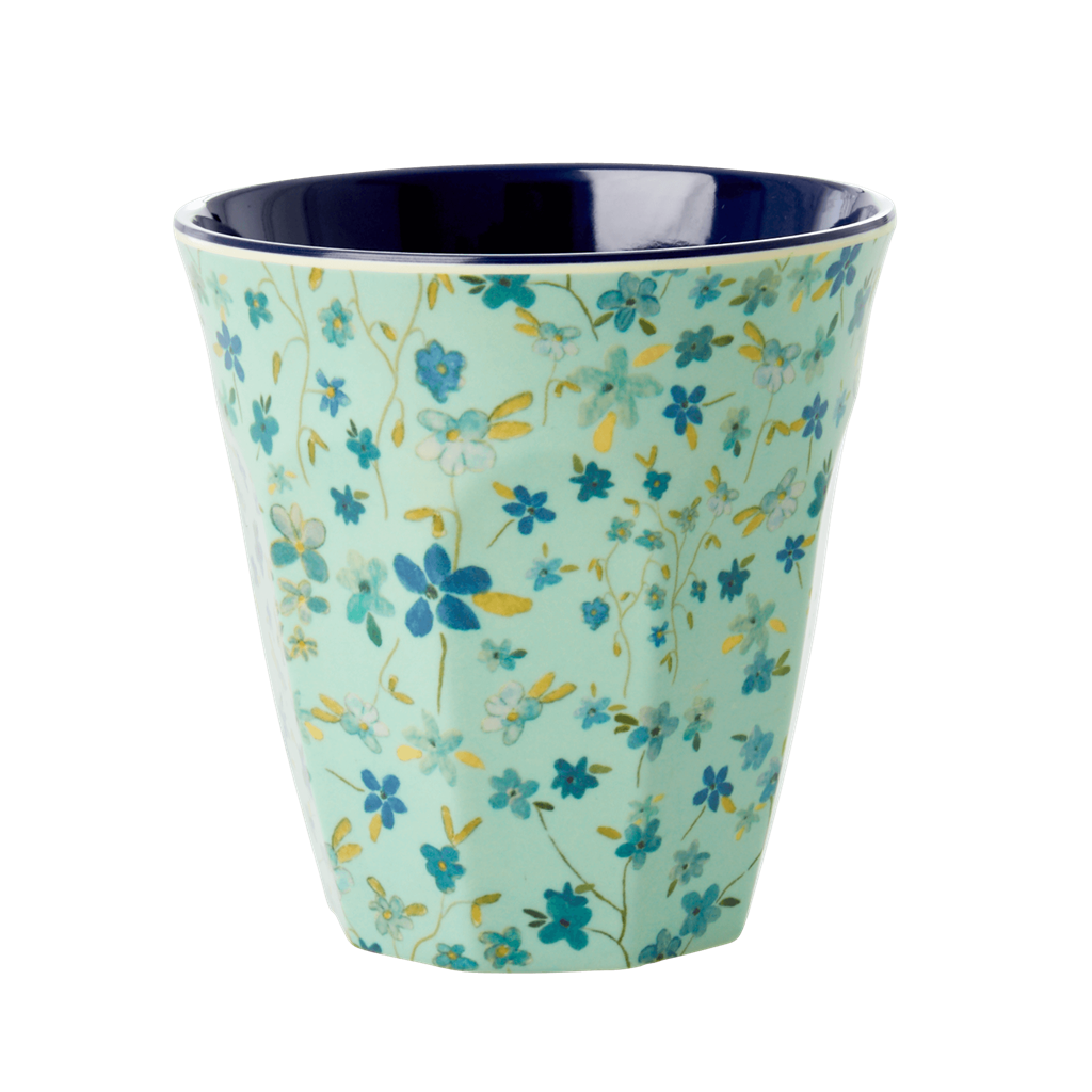 Melamine Cup with Blue Floral Print - Medium - Rice By Rice