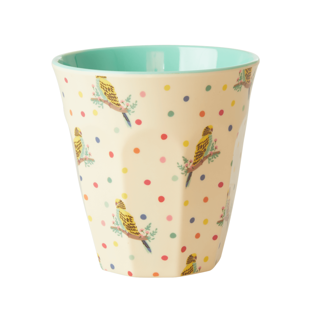 Melamine Cup - Medium in Cream Budgie - Rice By Rice
