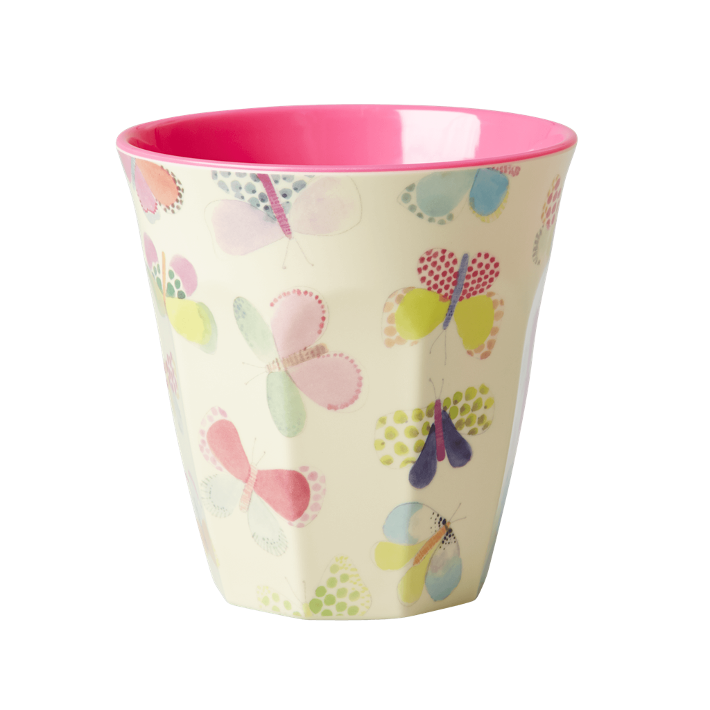 Melamine Cup - Medium in Butterfly - Two Tone - Rice By Rice