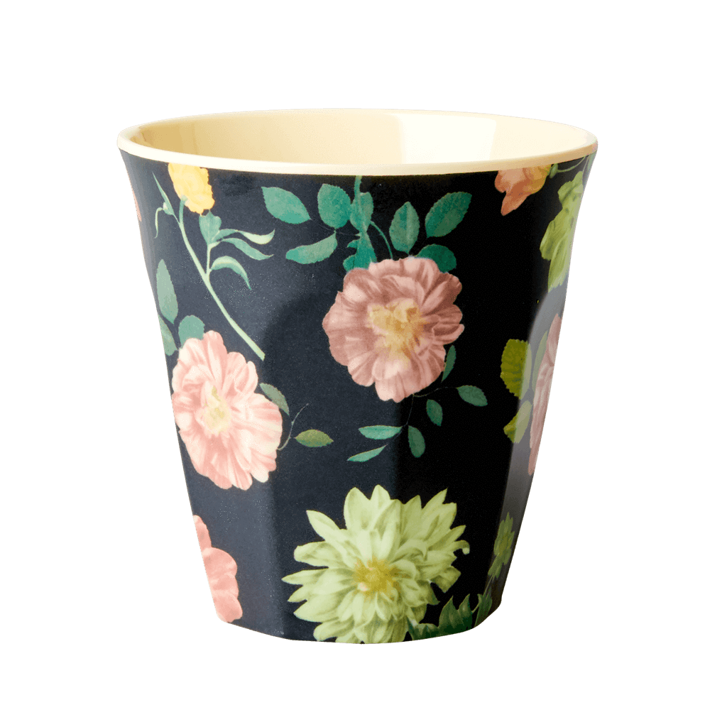 Melamine Cup with  Dark Rose Print - Medium - Rice By Rice