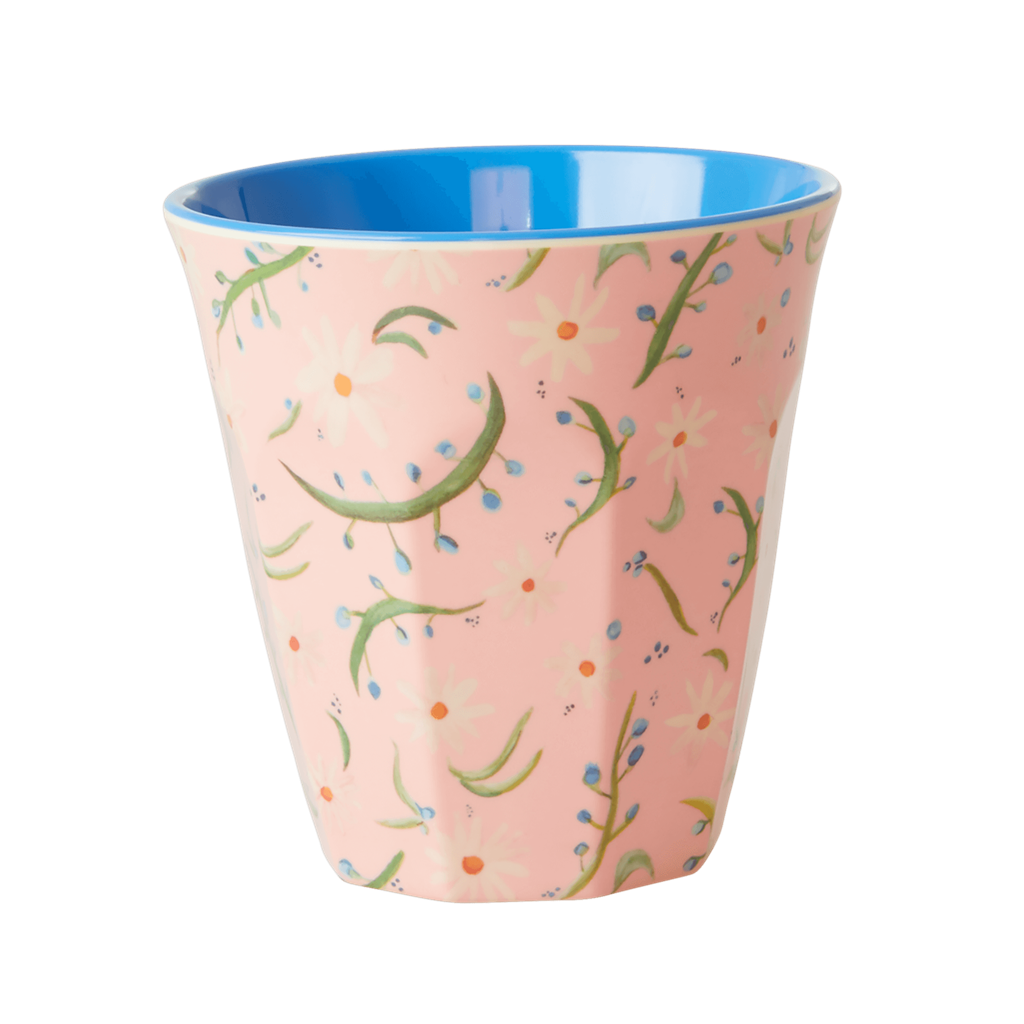 Melamine Cup - Medium in Pink Delightful Daisies - Rice By Rice