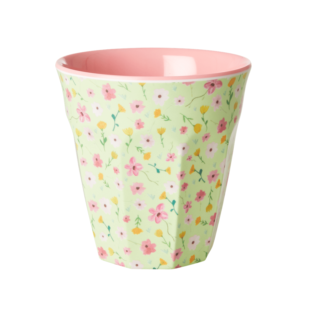 Melamine Cup - Medium in Apple Green Flower Easter Print - Rice By Rice