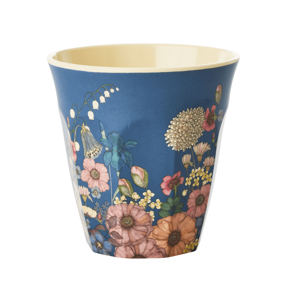 Melamine Cup with Flower Collage Print - Medium