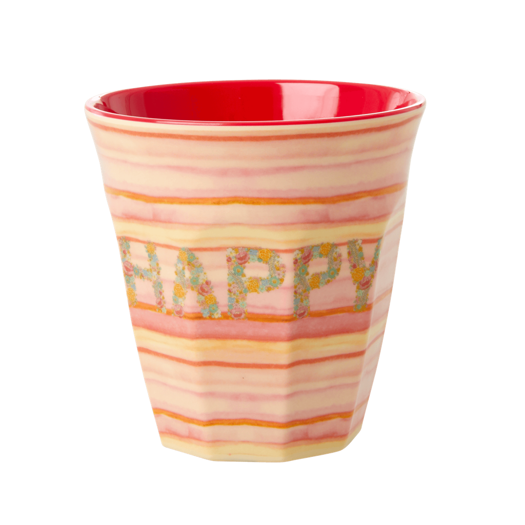 Melamine Cup with Happy Pink Print - Medium - Rice By Rice