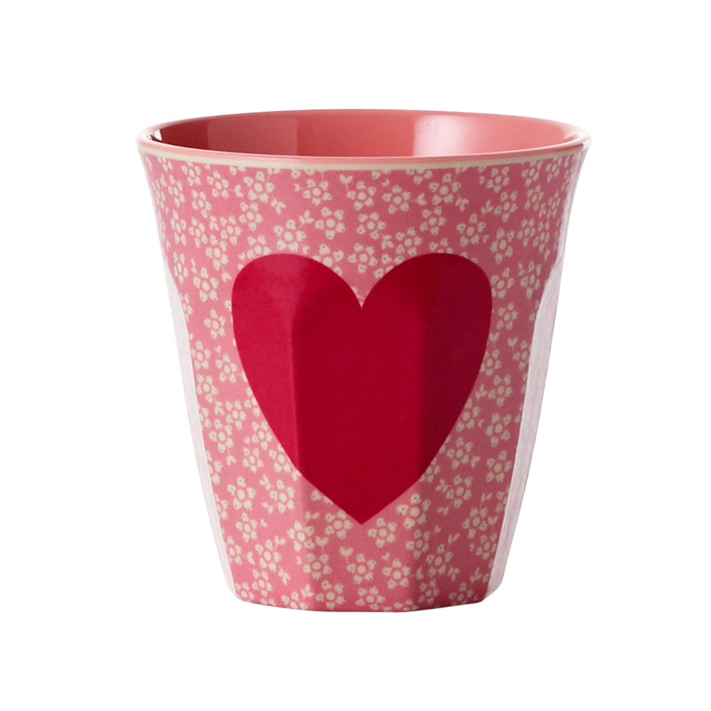 Melamine Cup - Medium in Heart Print - Two Tone - Rice By Rice