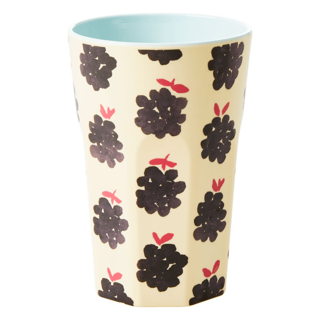 Melamine Cup with Blackberry  Print - Two Tone - Tall - Rice By Rice