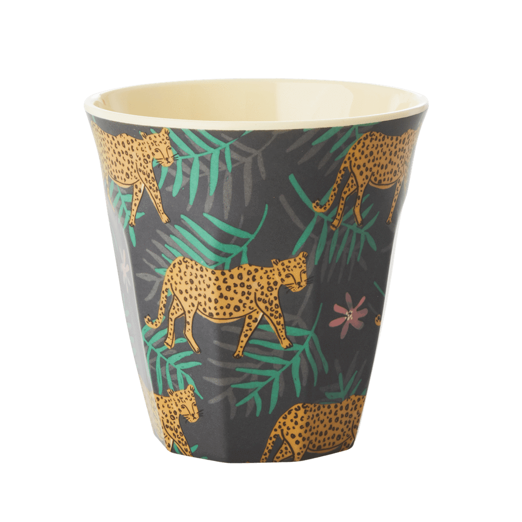 Melamine Cup with Leopard and Leaves Print - Medium - Rice By Rice