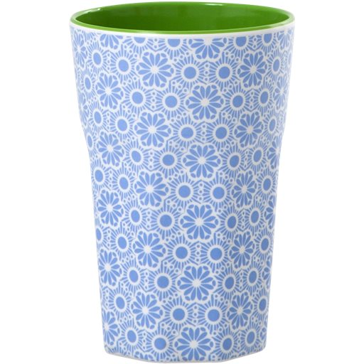 Melamine Cup with Marrakesh Print - Blue and White - Two Tone - Tall - Rice By Rice