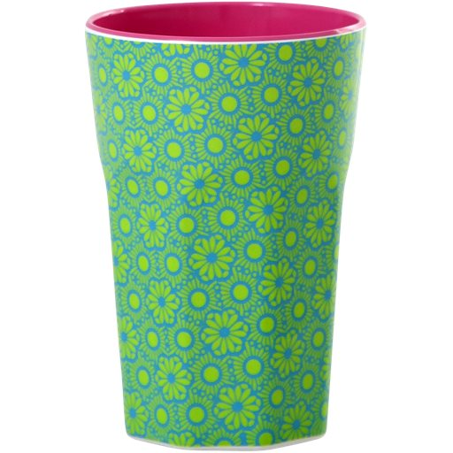 Melamine Cup with Marrakesh Print – Green and Turquoise - Two Tone - Tall - Rice By Rice