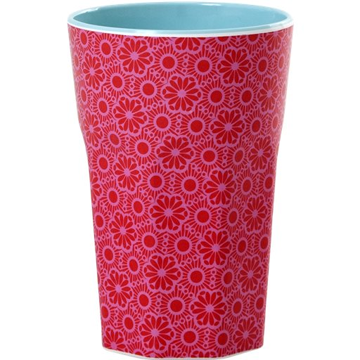 Tall Melamine Cup with Marrakesh Print – Red and Pink - Two Tone