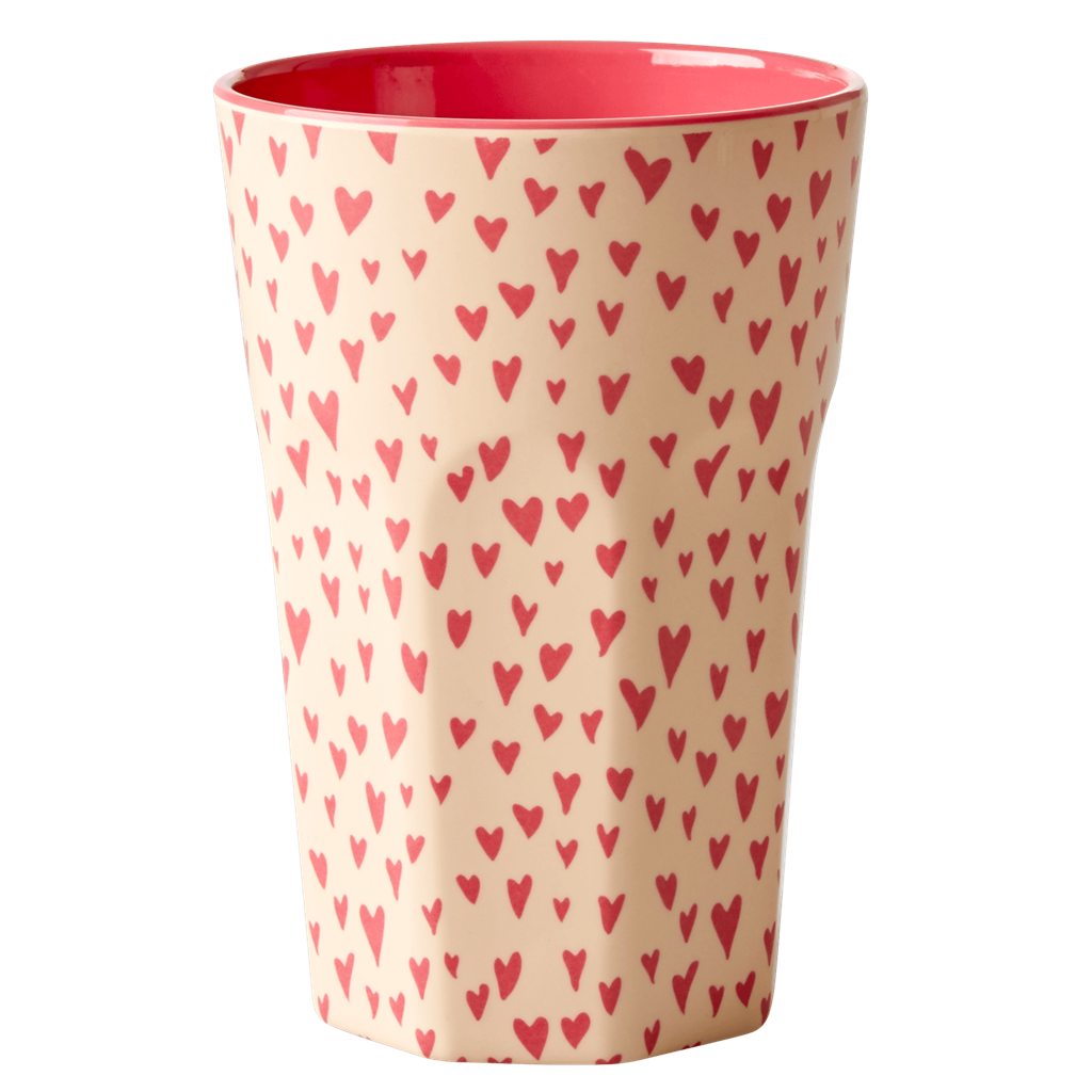 Melamine Cup with Small Hearts Print - Two Tone - Tall - Rice By Rice
