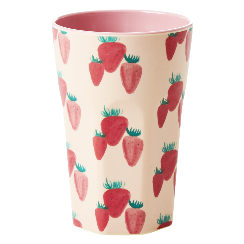 Melamine Cup with Strawberry Print - Two Tone <br> Tall - Rice By Rice