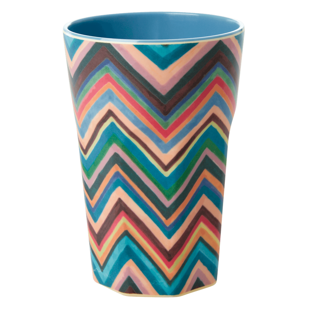 Melamine Cup - Tall in Zig Zag - Two Tone - Rice By Rice