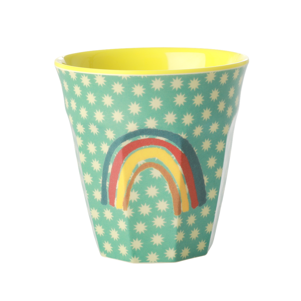 Melamine Cup with Rainbow and Stars Print - Two Tone - Medium