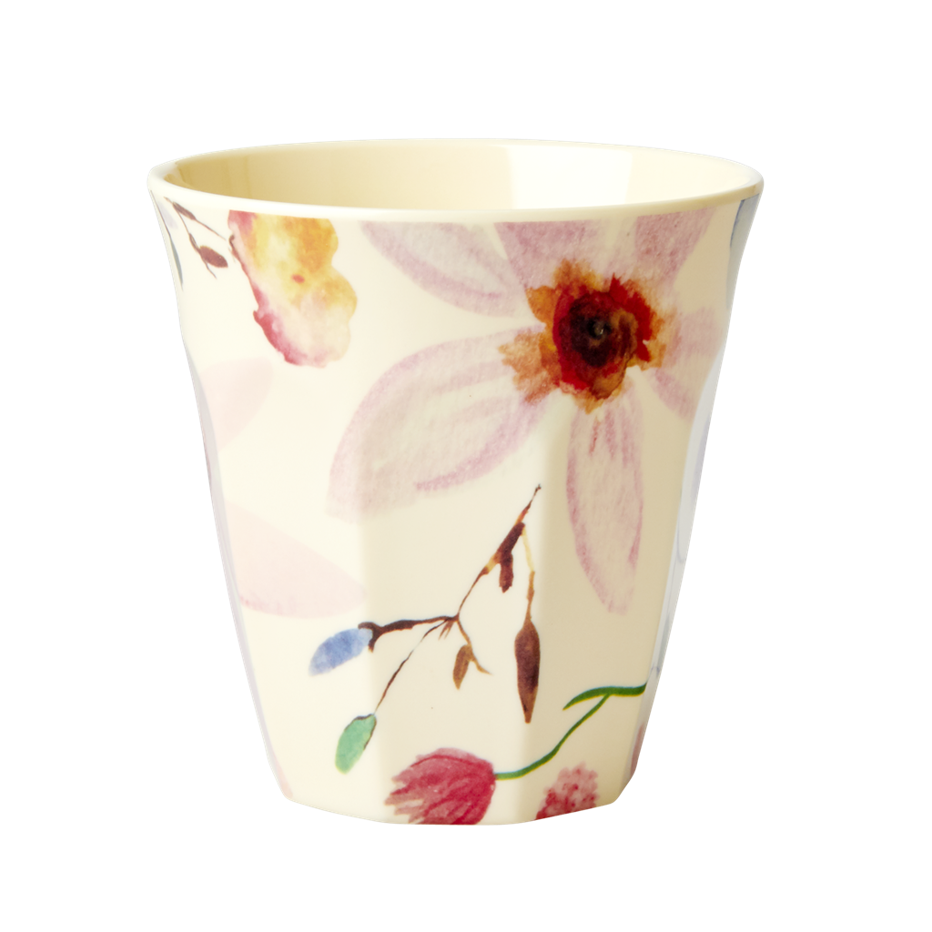 Melamine Cup with Selmas Flower Print - Medium - Rice By Rice